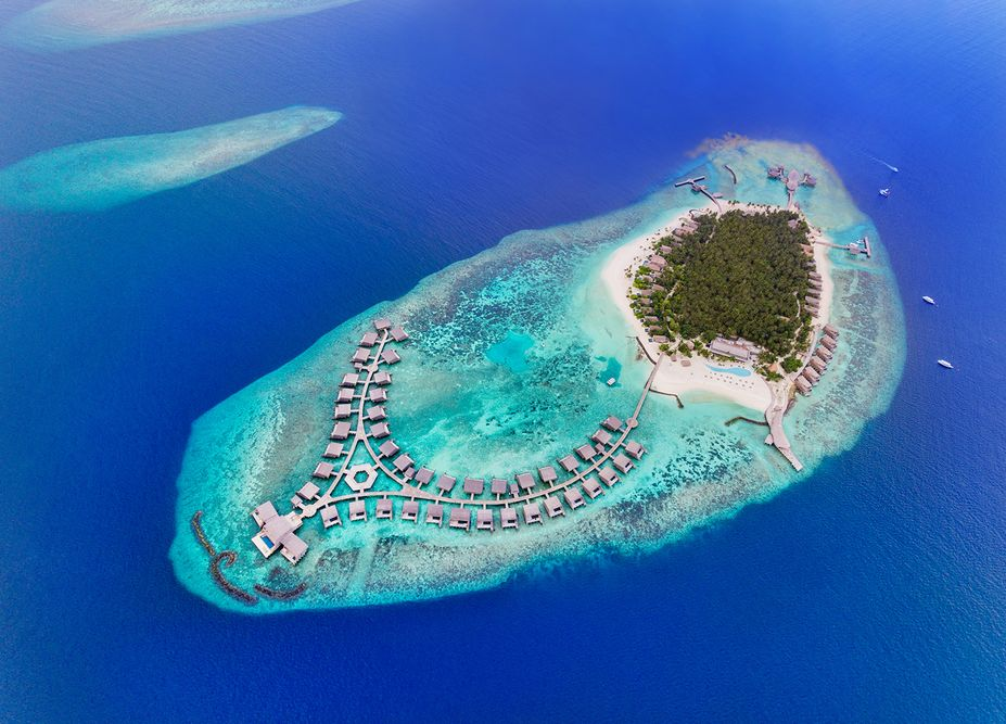aerial photograph st regis maldives by mediatropy